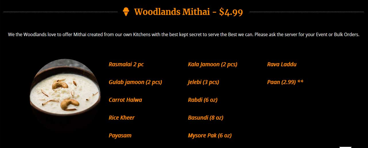 woodlands-mithai-menu